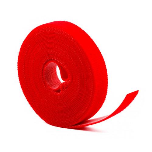 Многоразовая нейлоновая лента-липучка для стяжки проводов, красная - 5м