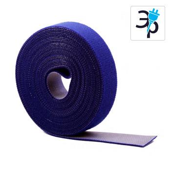 Нейлоновая лента-липучка многоразового применения для стяжки проводов, синяя - 5м