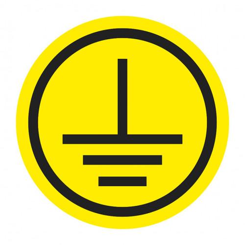 Наклейки знаки электробезопасности «Заземление» - 20 шт. на листе