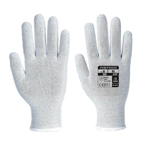 Антистатические нейлоновые перчатки без покрытия PORTWEST A197