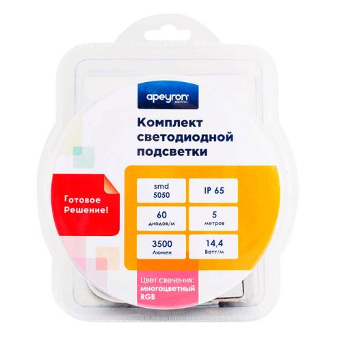 Комплект цифровой светодиодной ленты Apeyron RGB 12В, smd 5050, 60 диодов на метр, 5м