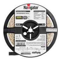 Светодиодная лента Navigator NLS-3528WW60-4.8-12V R5, 3000K, 5м