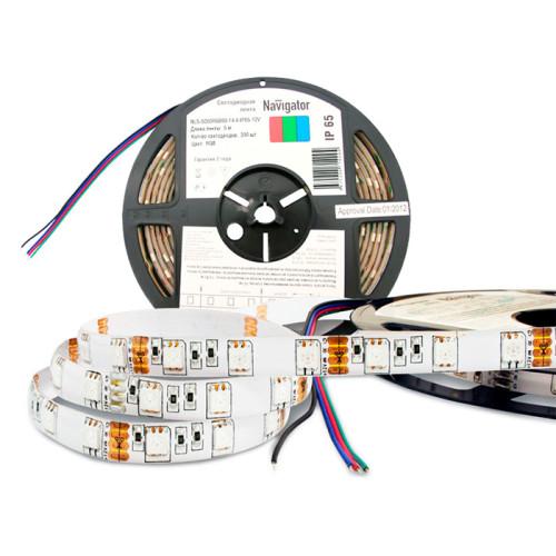 Светодиодная лента Navigator NLS-5050 RGB, IP65, 12В, 5м, самоклеящаяся