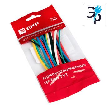 Набор ТУТ EKF PROxima 6 цветов по 5шт (1/0.5, 1.5/0.75, 2/1, 2.5/1.25, 3/1.5) - 100мм