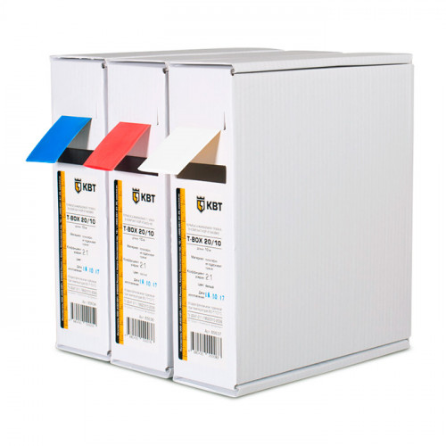 Термоусадочные цветные трубки КВТ в компактной упаковке Т-бокс - 10м
