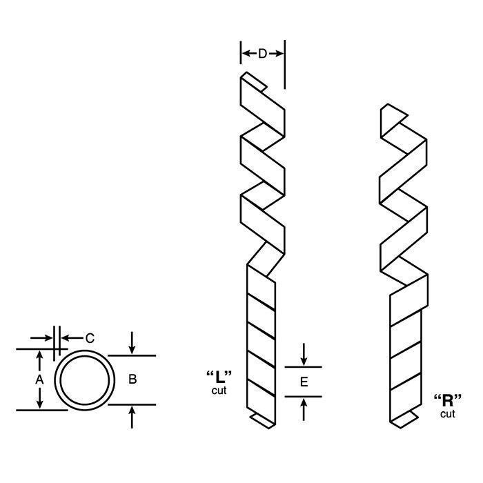 Размерная схема Zeus PTFE Spiral-Cut