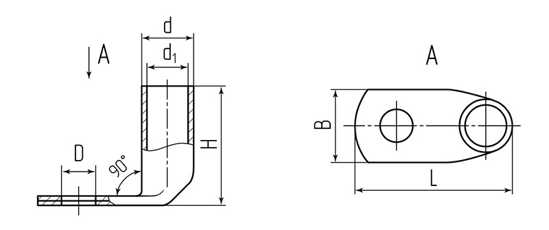 Схема размеров наконечника ТМЛ (90°)
