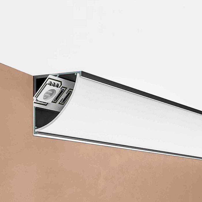 Установка в угловой алюминиевый профиль